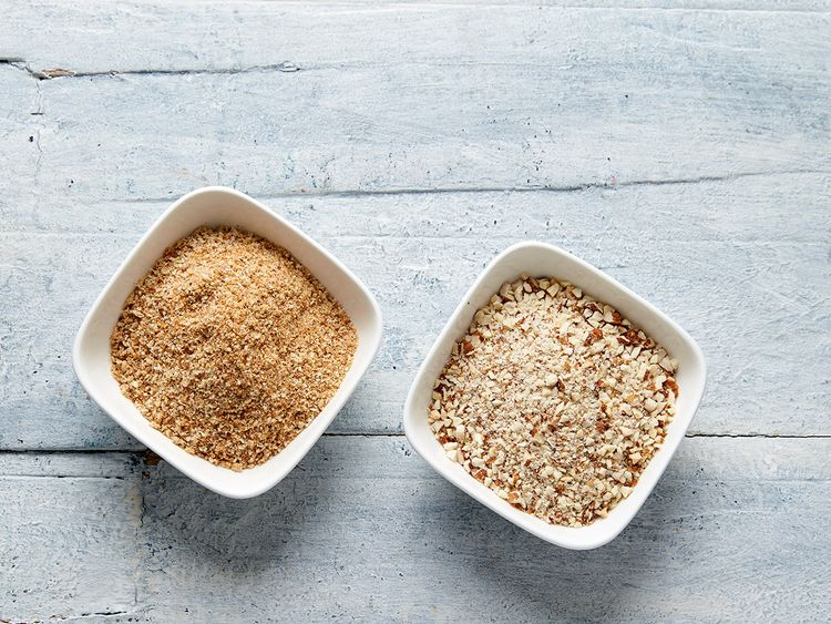 [Left] breadcrumbs [Right] crushed almonds