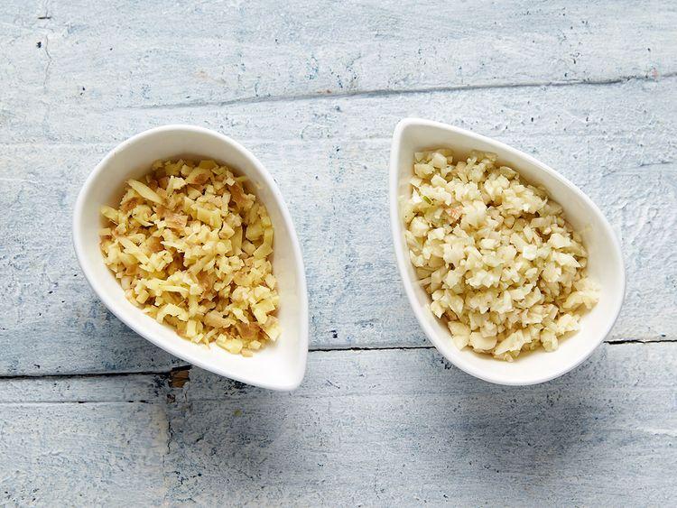 [Left] chopped ginger [Right] chopped garlic