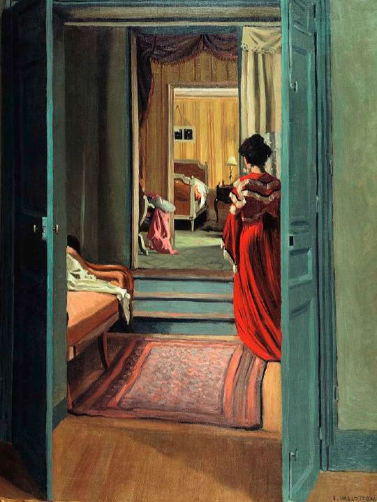 Félix Vallotton, Interior with Woman in Red