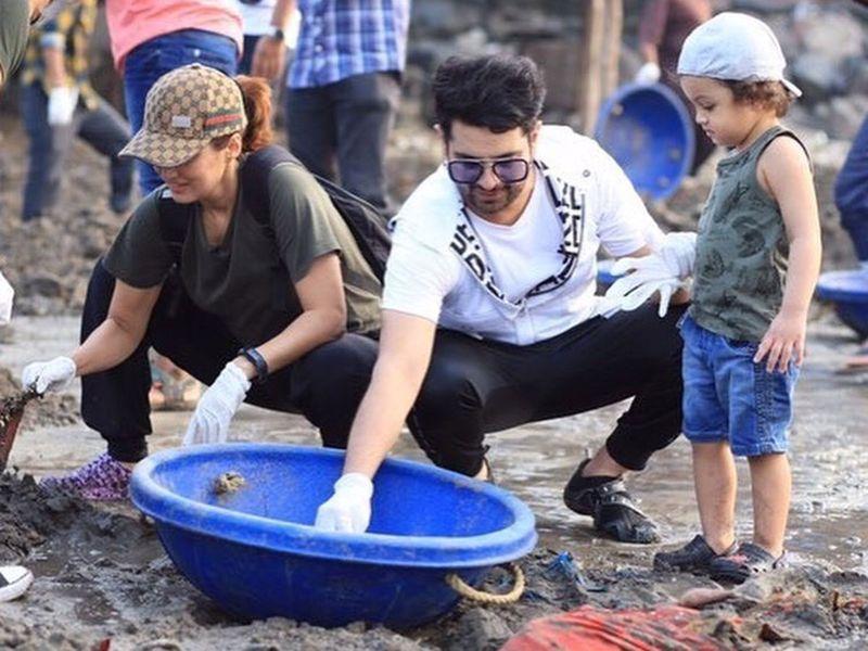Karan Mehra and Nisha Rawal  with their son
