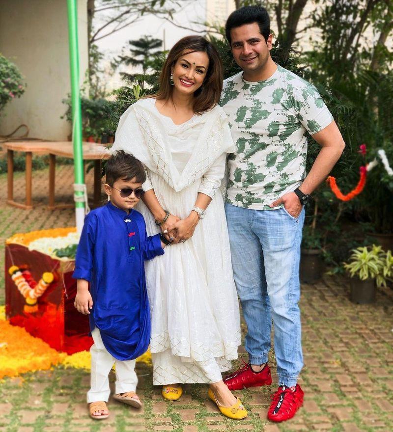 Karan Mehra and Nisha Rawal and thier son Kavish.