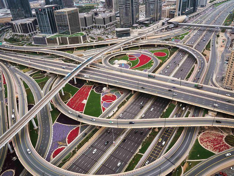 STOCK Dubai skyline sheikh zayed road economy INTERCHANGE