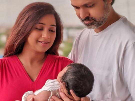 Shreya Ghoshal with her newborn and husband