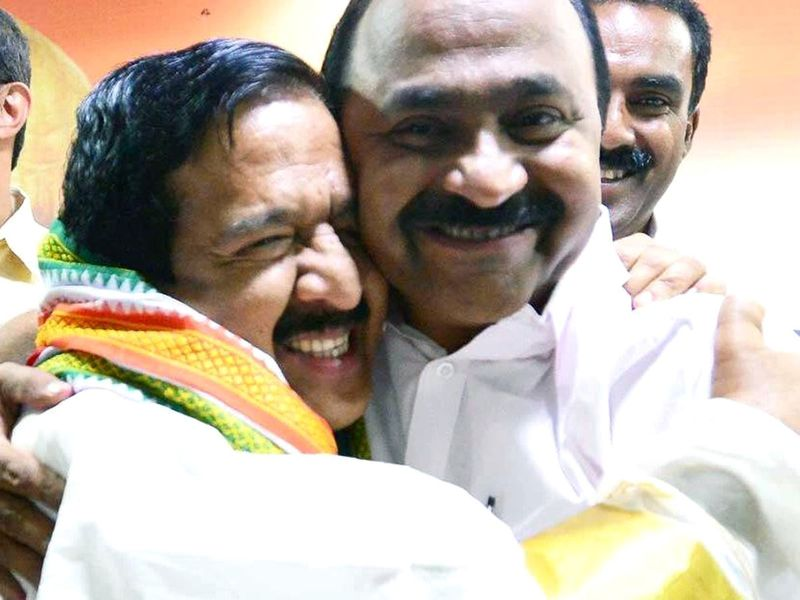 VD Satheesan with Ramesh Chennithala in Kerala Assembly on Friday.