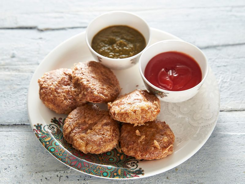 Shammi Kabab with spicy chutney and tomato ketchup