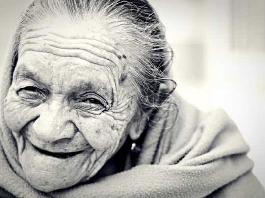 old laughing woman