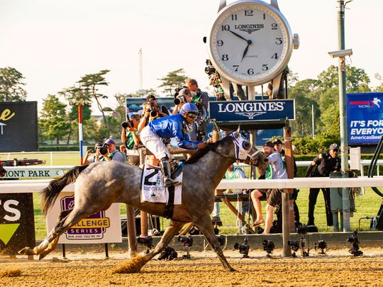 Essential Quality, ridden by Luis Saez, wins the 153rd running of the Belmont Stakes