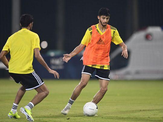 The UAE football team in training