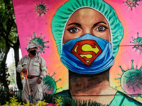 Masks Mexico mural