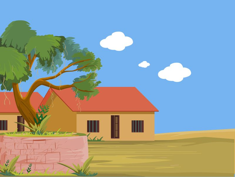 An illustration of a village home in India