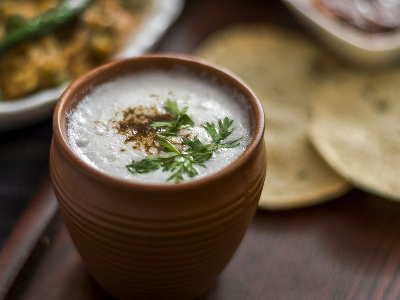 Buttermilk or Chhas a yoghurt-based Indian summer drink