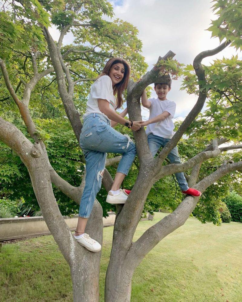 Shilpa shetty climbing tree
