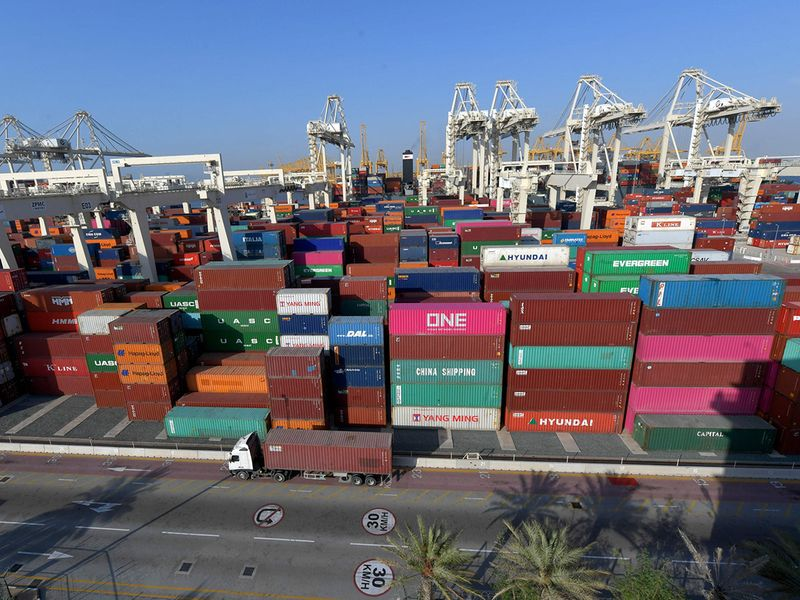 Stock DP world Jebel ali port