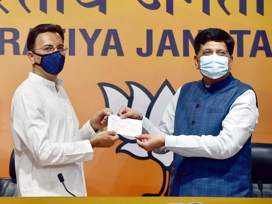 Jitin Prasada with Union Minister Piyush Goyal