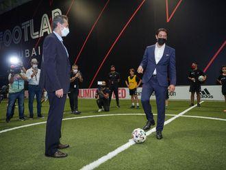 Portugal legend Rui Costa and Hussein Murad, Managing Director of Footlab Dubai, take the first kick-off.