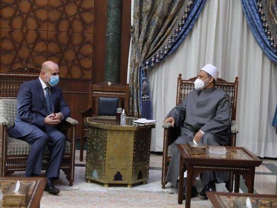 Sheikh Ahmed Al Tayyib meets in Cairo chief of Palestine's judges Mahmoud Al Habash.