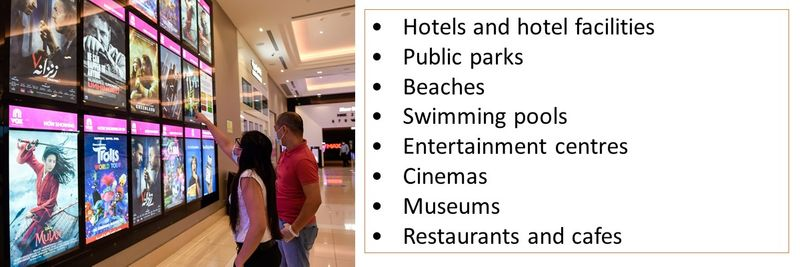 •Hotels and hotel facilities •Public parks •Beaches •Swimming pools •Entertainment centres •Cinemas •Museums •Restaurants and cafes