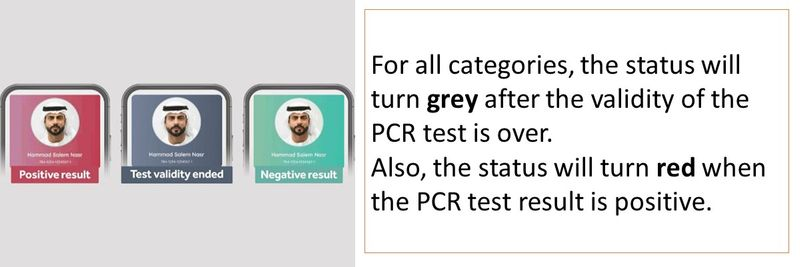 For all categories, the status will turn grey after the validity of the PCR test is over.  Also, the status will turn red when the PCR test result is positive.