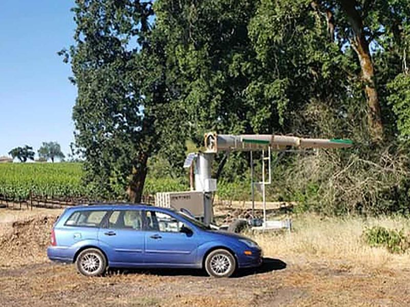 This photo shows a fan at the vineyard in Santa Rosa, California where the man was found stuck.