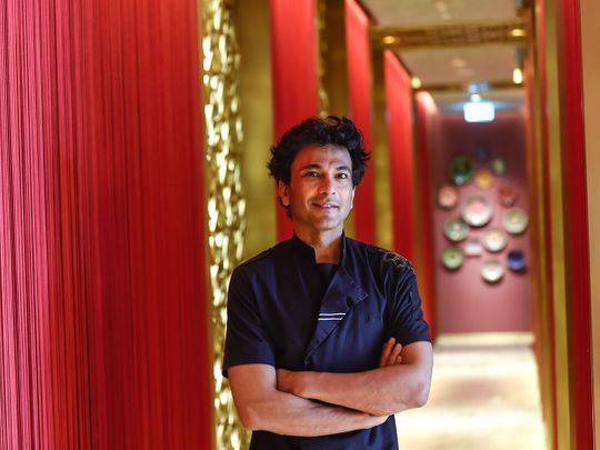 Vikas Khanna at his restaurant 'Kinara' in Dubai