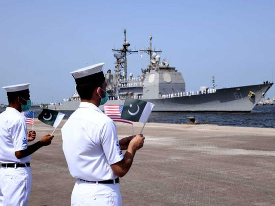 US navy guided missile cruiser karachi