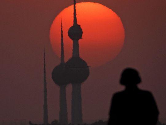 Stock Kuwait skyline towers