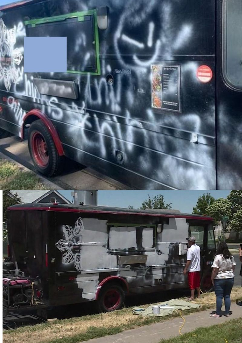 Vandalised vehicles