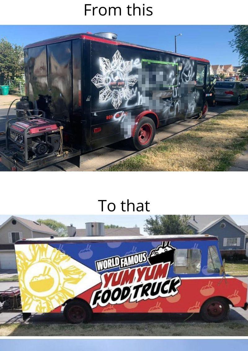 Vandalised yumyum food truck