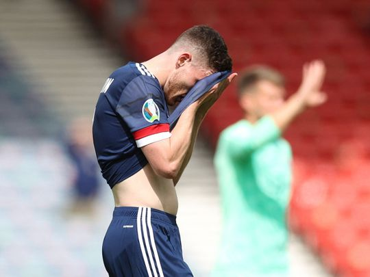 Andrew Robertson reacts after the Scotland loss to Czech Republic