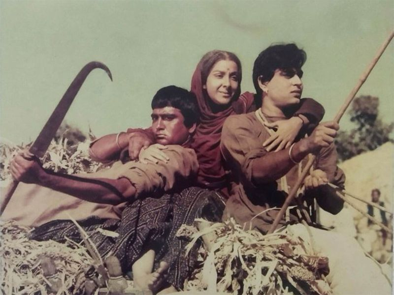 Nargis with Sunil Dutt and Rajendra Kumar in Mehboob Khan's classic, Mother India (1957)