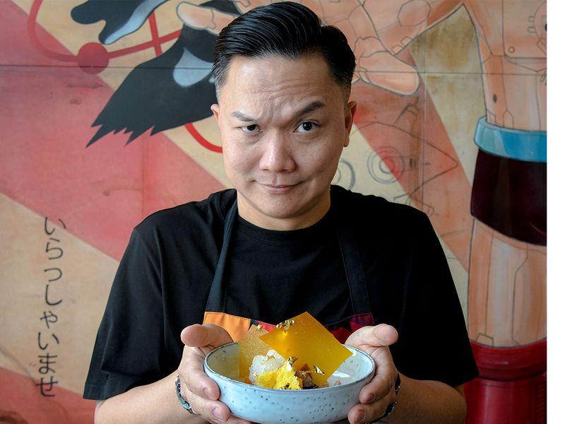 Reif Othman with his Golden Visa themed dessert.