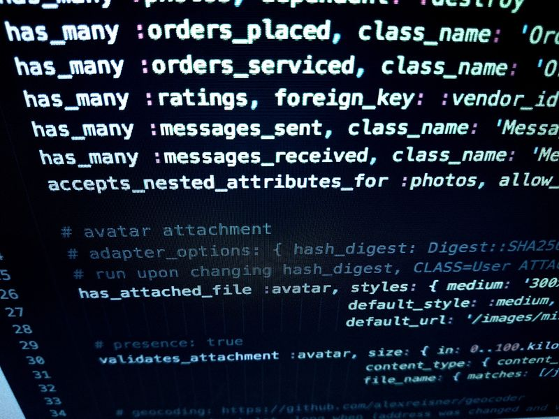 Picture of HTML coding during website development for illustrative purpose only