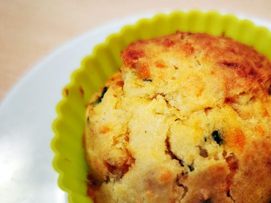 Cheese and spinach muffin