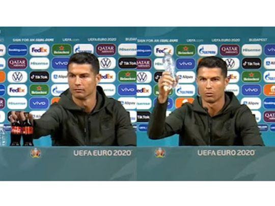 Cristiano Ronaldo removes the Coca-Cola bottles
