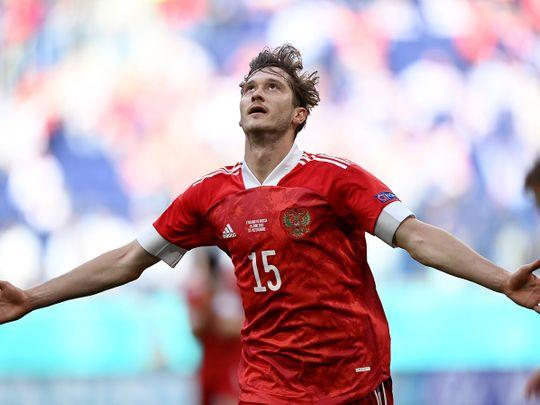 Russia's Aleksei Miranchuk celebrates after scoring against Finland