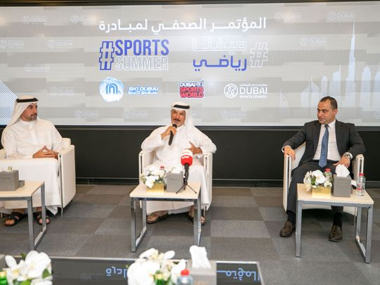 Saeed Hareb, Secretary General of Dubai Sports Council, speaks at the launch of Sports Summer