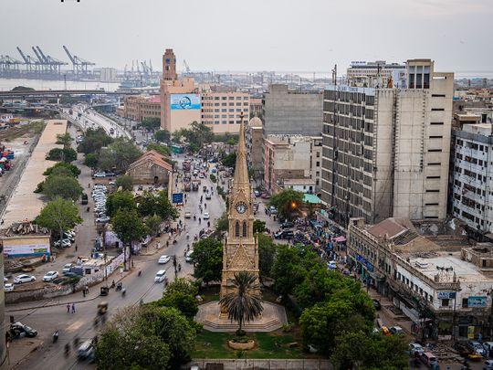 Stock Karachi city skyline
