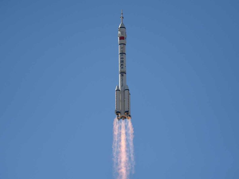 A Long March-2F carrier rocket, carrying the Shenzhou-12 spacecraft