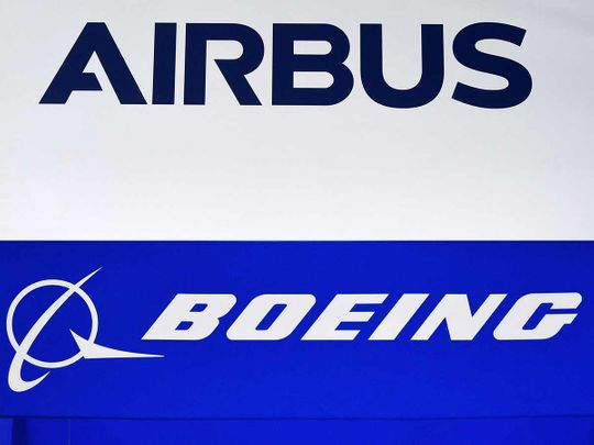 Boeing and Airbus logos