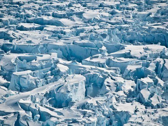 Closeup of crevasses near the Pine Island Glacier grounding line, near its western margin in Antarctica.