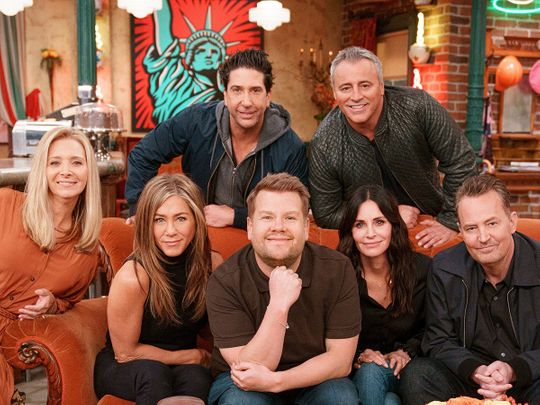 James Corden with the cast of 'Friends'