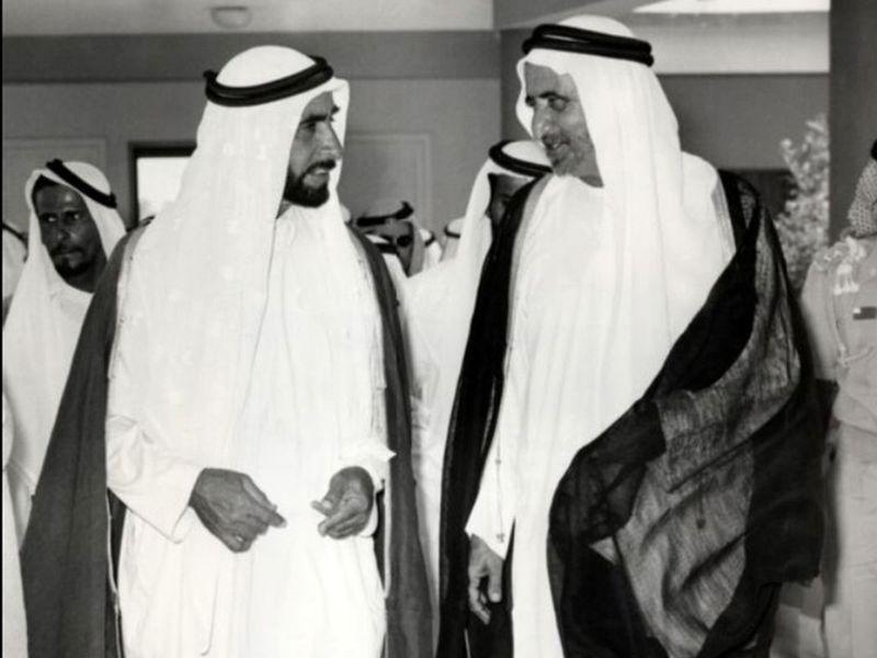 Sheikh Zayed and Sheikh Rashid in 1971