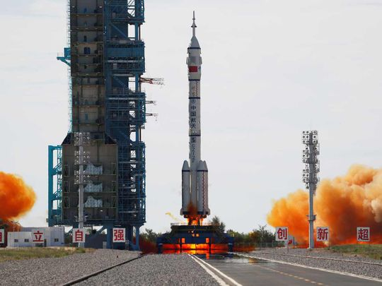 The Long March-2F Y12 rocket, carrying the Shenzhou-12 spacecraft