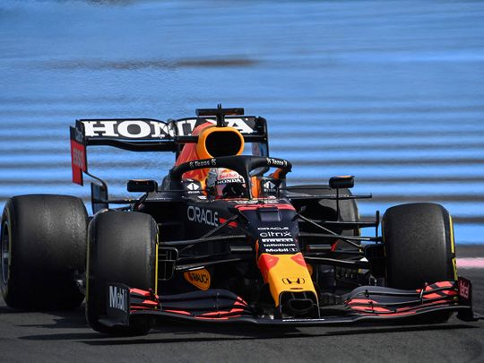 Red Bull's Max Verstappen drives during second practice session at the Circuit Paul-Ricard in Le Castellet ahead of the French Grand Prix.