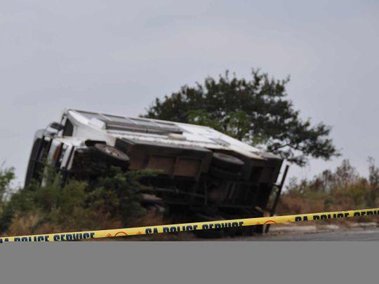 Bus accident scene