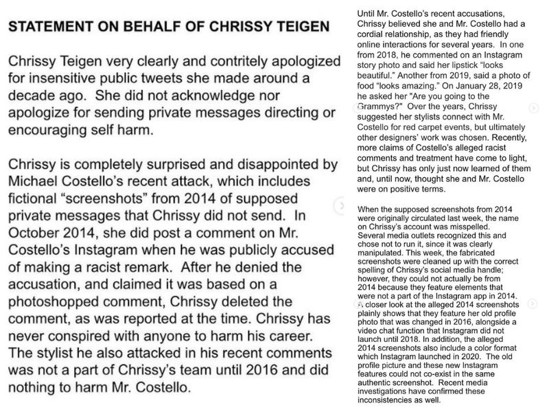 Chrissy Teigen' statement