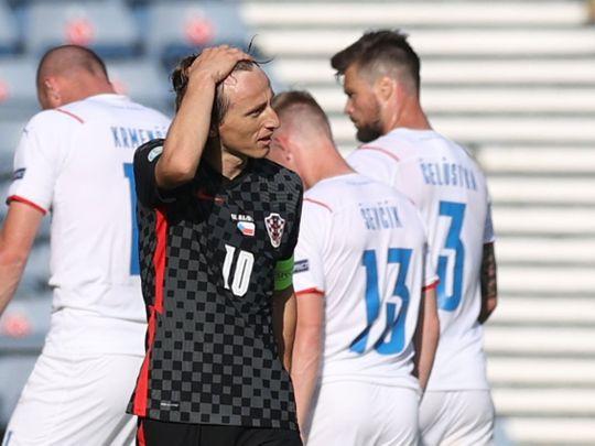Croatia's Luka Modric looks dejected after the match against the Czech Republic