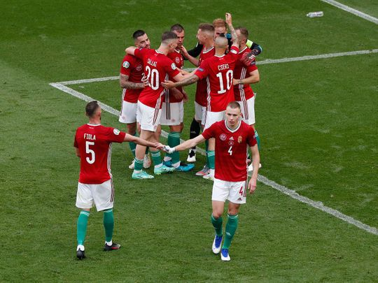Hungary players at the end of the game against France