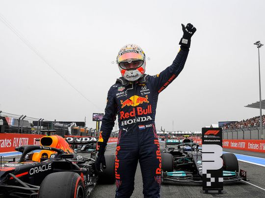 Max Verstappen celebrates his pole position in France