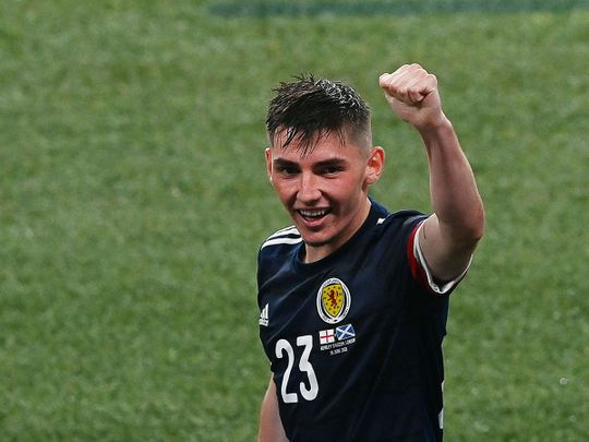Scotland's midfielder Billy Gilmour toasts the draw against England